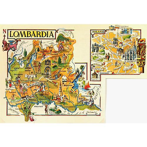 Lombardy Italy Map, 1950