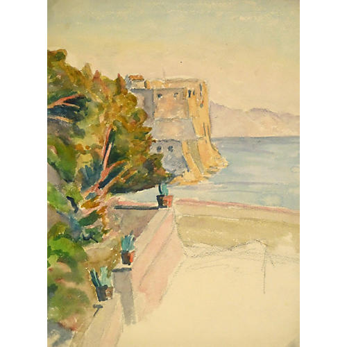 Villa Sea View Watercolor, C. 1930