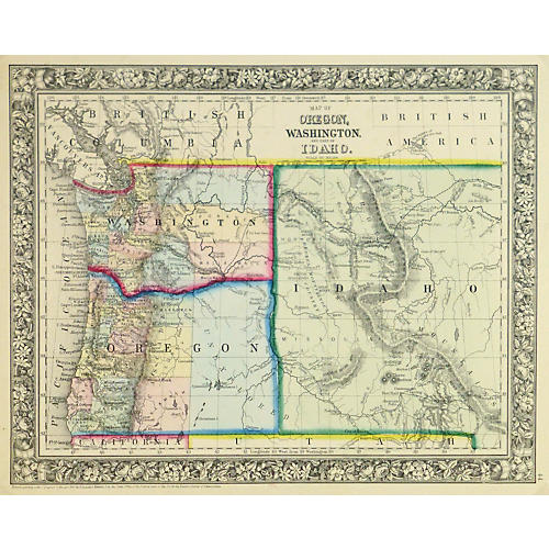Oregon, Washington & Idaho Map, 1860