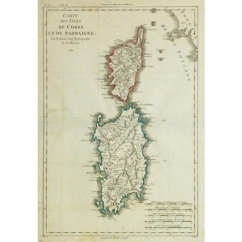 Map of Corsica & Sardinia, 1790