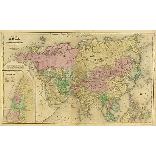 Vintage Map of Asia, 1844