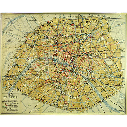 City of Paris Map, 1921