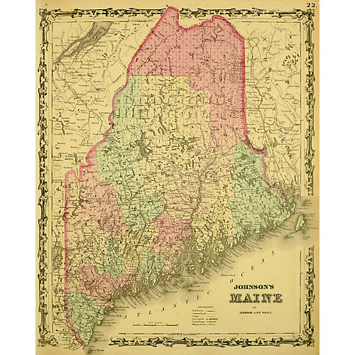 Map of Maine, 1863