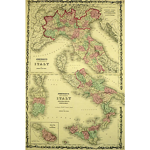 Map of Italy, 1863