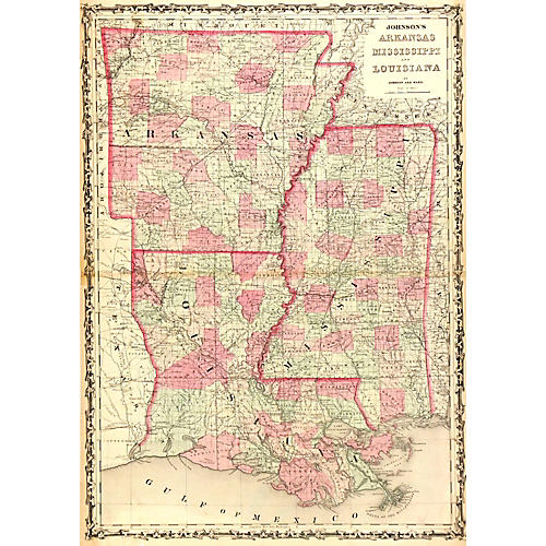 Map of Louisiana, Arkansas & MS, 1863