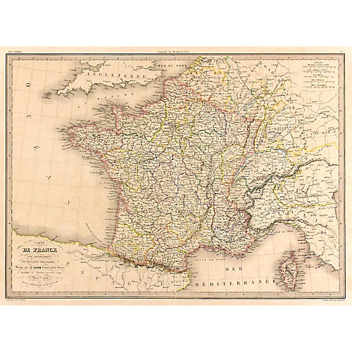 Antique Map of France, 1838