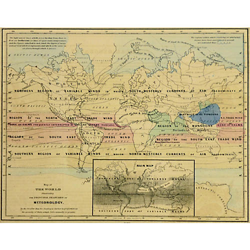 Antique World Map, 1860