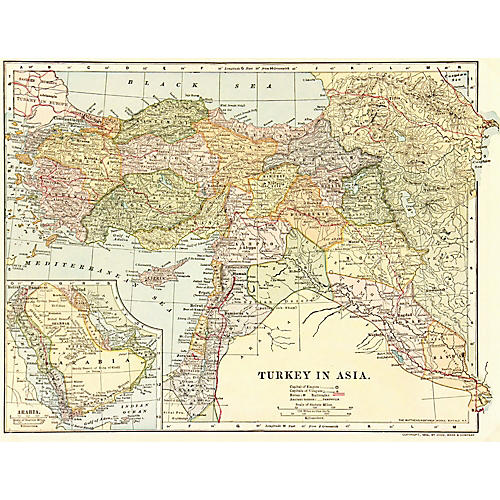 Map of Turkey, 1908