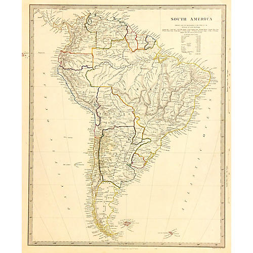 Map of South America, 1853