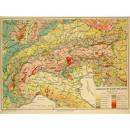 Map of the Alps, C. 1885