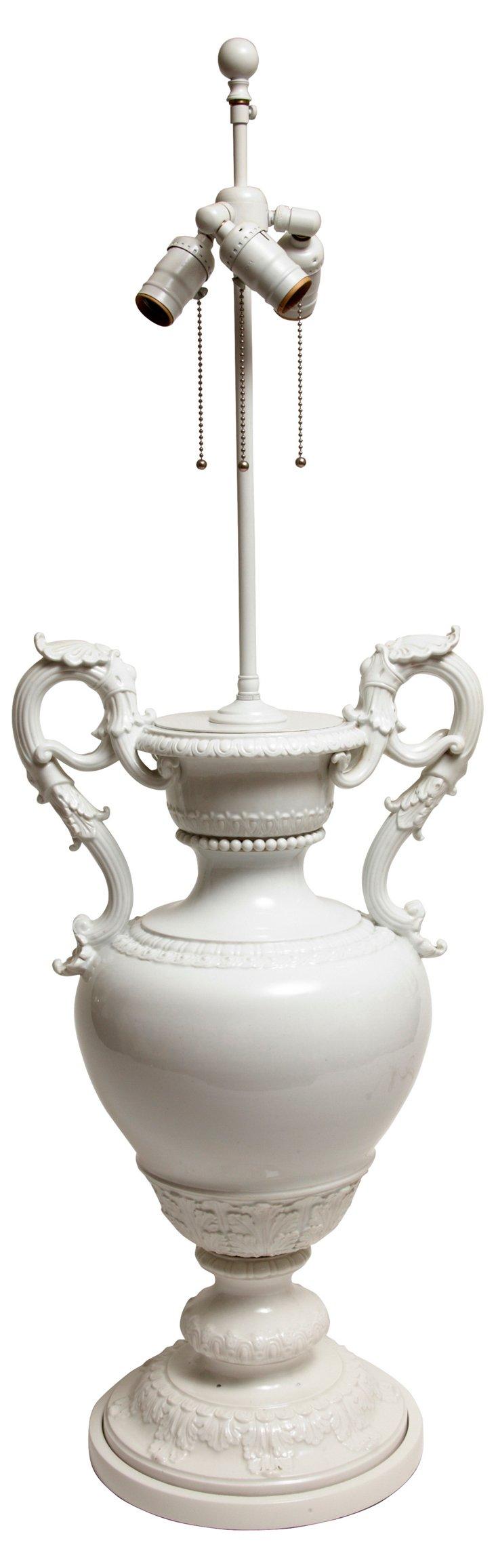 19th-C. Meissen Urn Lamp
