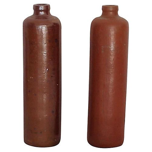19th-C. Glazed Pottery Bottles, S/2