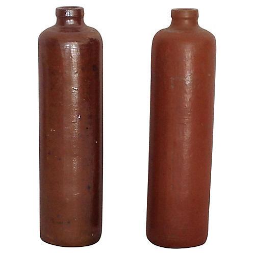 19th-C. Glazed Pottery Bottles, S/2