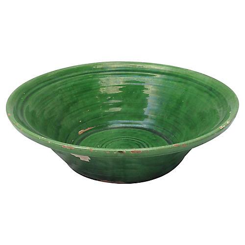 French Green Glazed Pottery Bowl