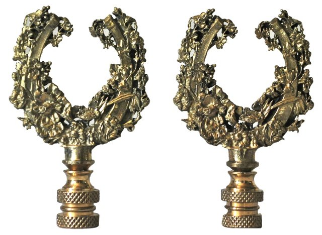 Lucky Brass Horseshoe Finials, Pair