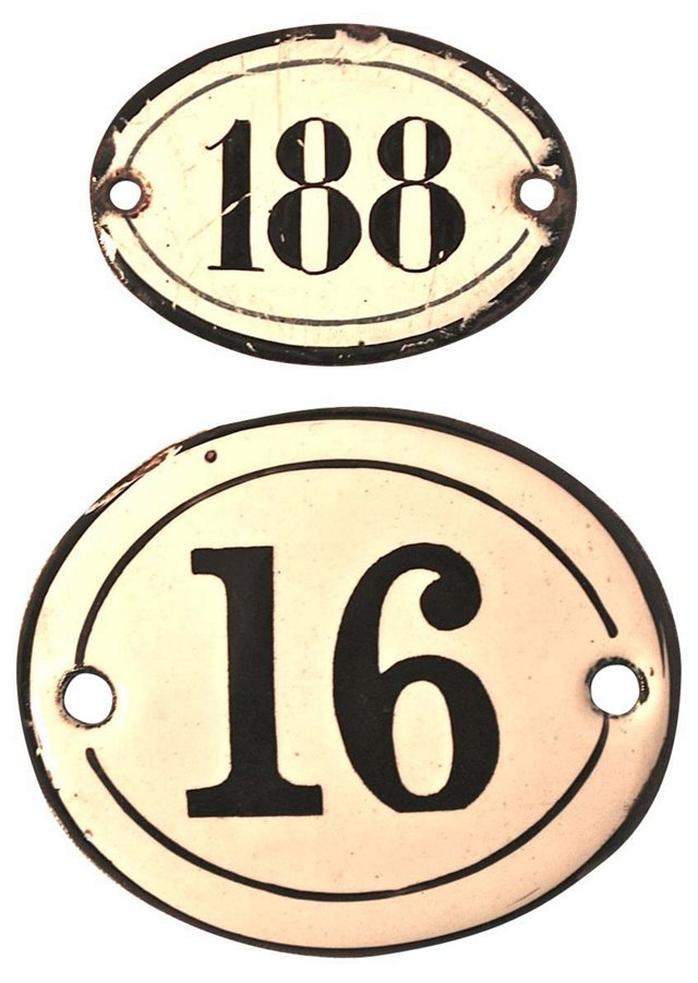 French Enamel Number Plaques, Pair