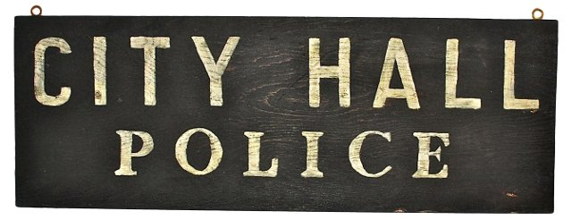 1950s City Hall Police Sign