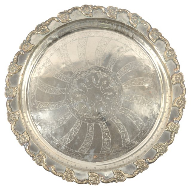 Moroccan Silverplate Tea   Tray
