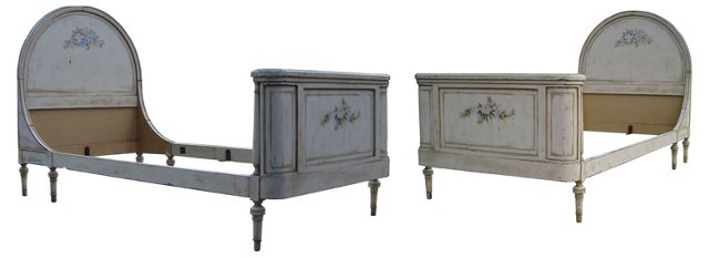 Antique French-Style Beds, Twin, Pair