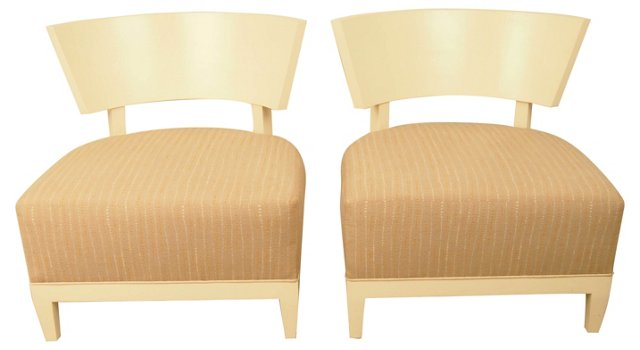 Custom Curved-Back  Slipper Chairs, Pair