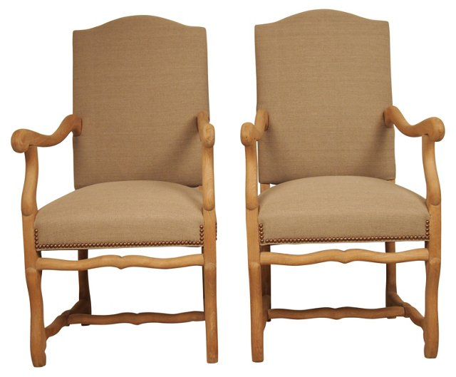 French Os de Mouton Chairs,  1930, Pair