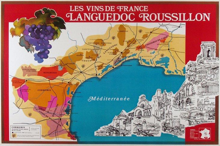 Les Vins de Languedoc French Map