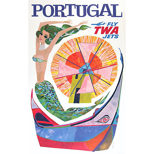 Original TWA Portugal Travel Poster