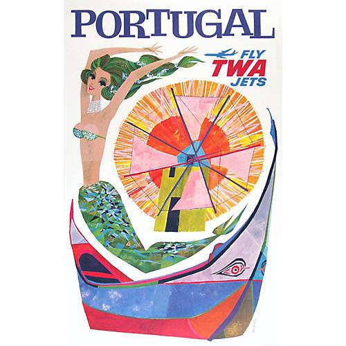 Original TWA Portugal Travel Poster