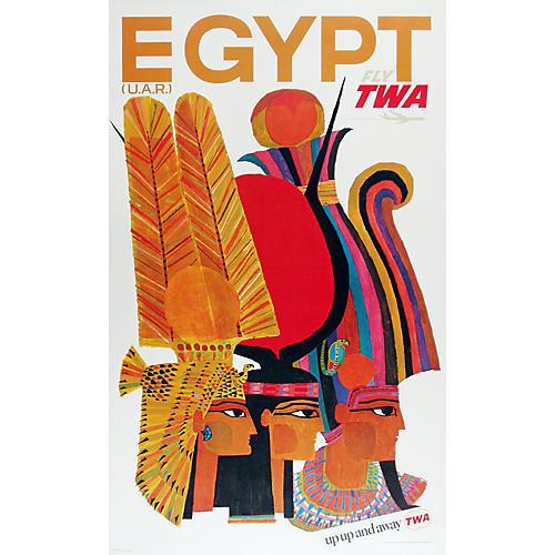 Original TWA Egypt Travel Poster