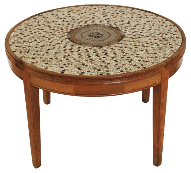 Round Tiled Cocktail Table