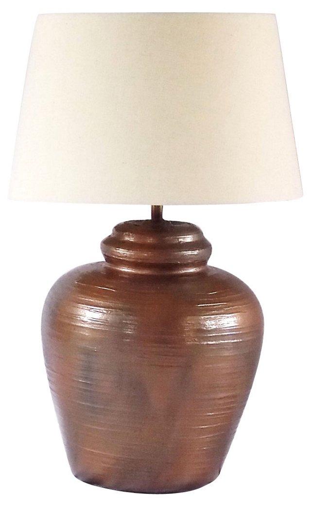 1970s Ginger Jar Pottery Lamp
