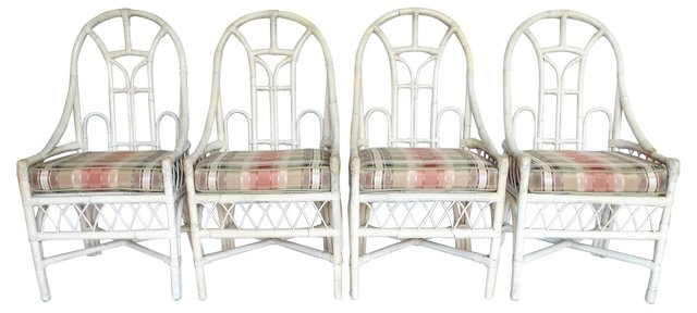 White Rattan  Chairs, S/4