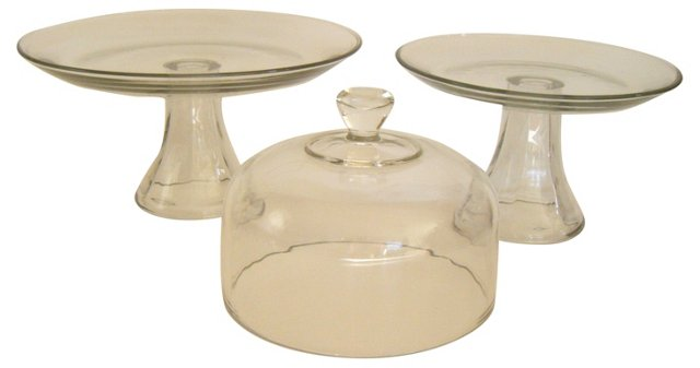 Dome & 2 Glass Cake Stands