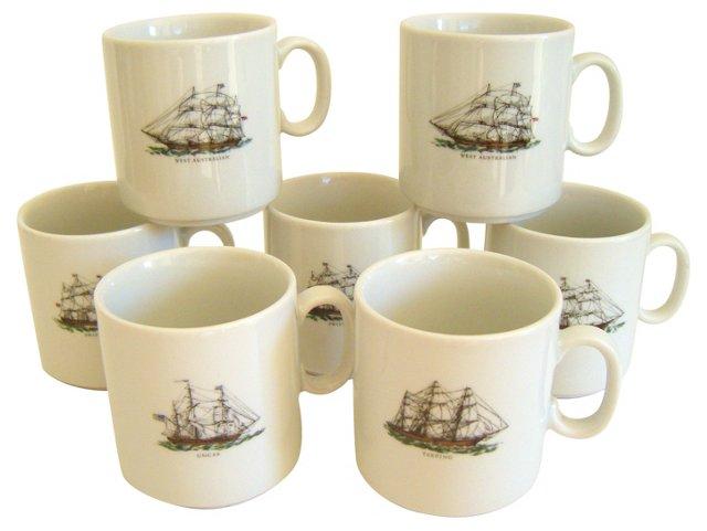 Bavarian Ship Mugs, Set of 7