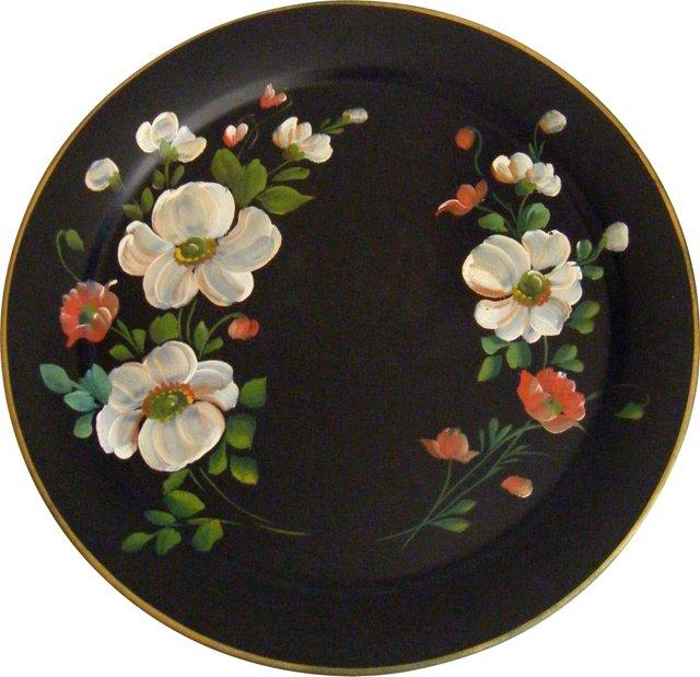 Black Tole Tray w/ Flowers