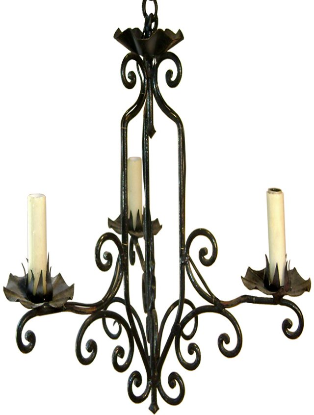 3-Arm Wrought Iron Chandelier