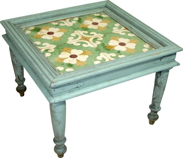 Asian Tile-Top Coffee Table