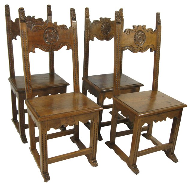 19th-C. Carved Italian Chairs, S/4
