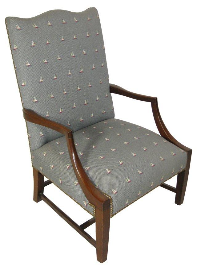 Georgian-Style Chair w/ Sailboat Fabric