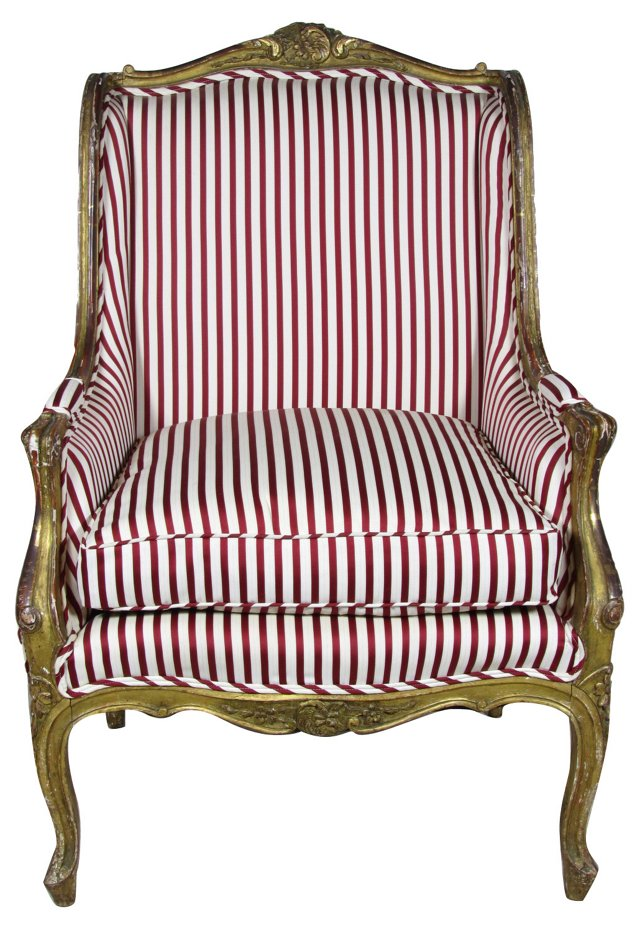 19th-C. French Giltwood    Bergère