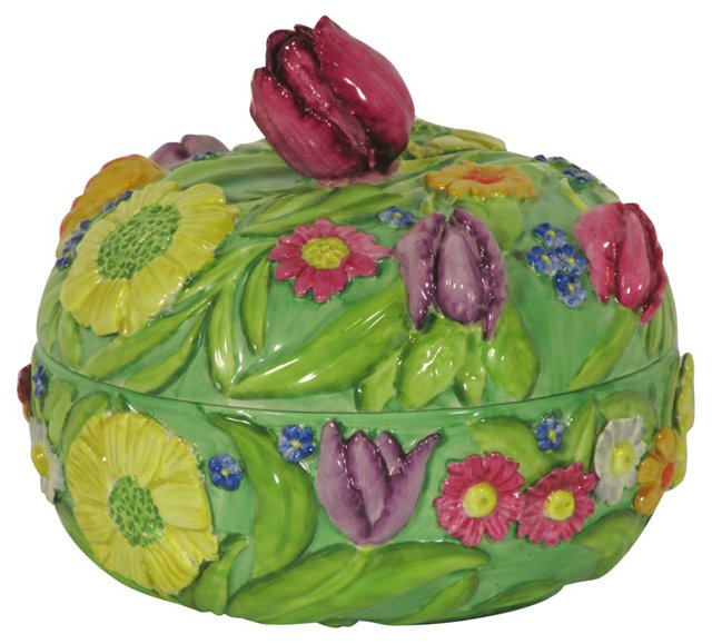 Majolica Covered Bowl