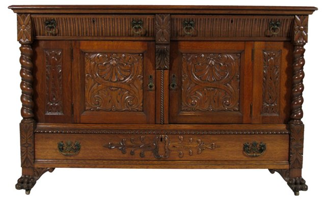 19th-C. Carved Sideboard