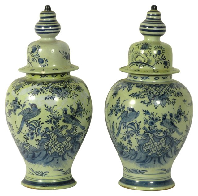 18th-C. Delft Covered Urns, Pair