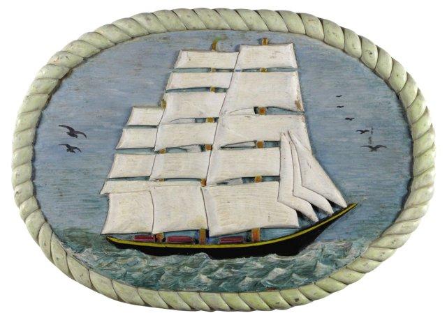 Carved Ship Plaque