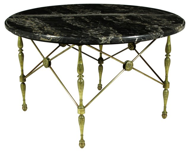 Italian Marble & Brass Coffee  Table