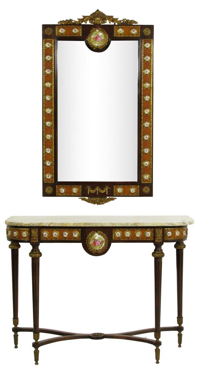 Louis XVI-Style Console &  Mirror