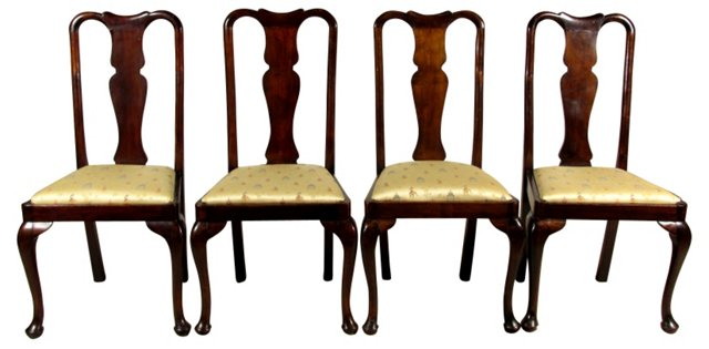 19th-C. English Side Chairs, S/4