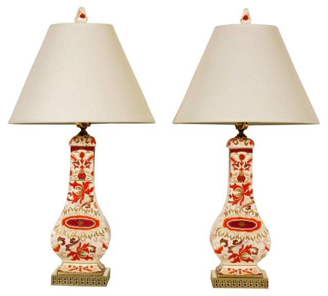 English Imari Lamps, Pair
