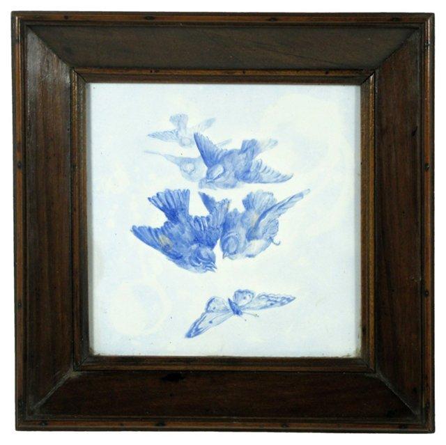 French Blue Bird Tile