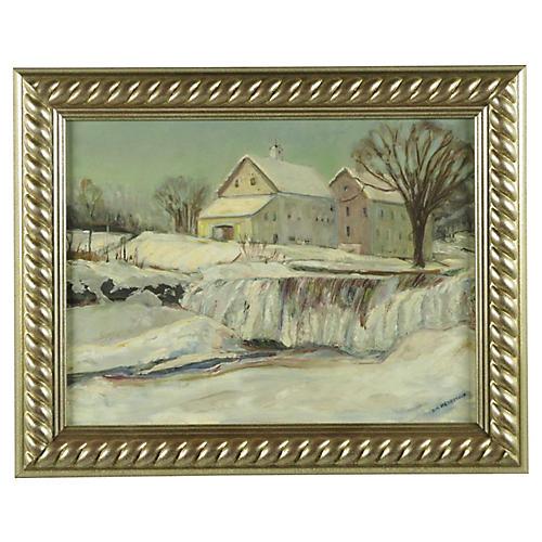 Winter Scene in Newfield, Maine